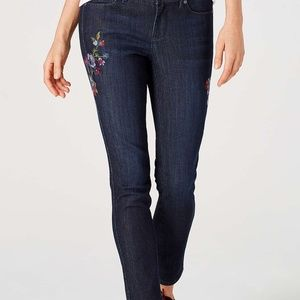 J. Jill Luna Slim Ankle Floral Embroidered Jeans